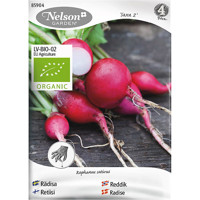 Rädisa Saxa 2, Organic-Ekologiskt frö till rund rädisa, Saxa 2