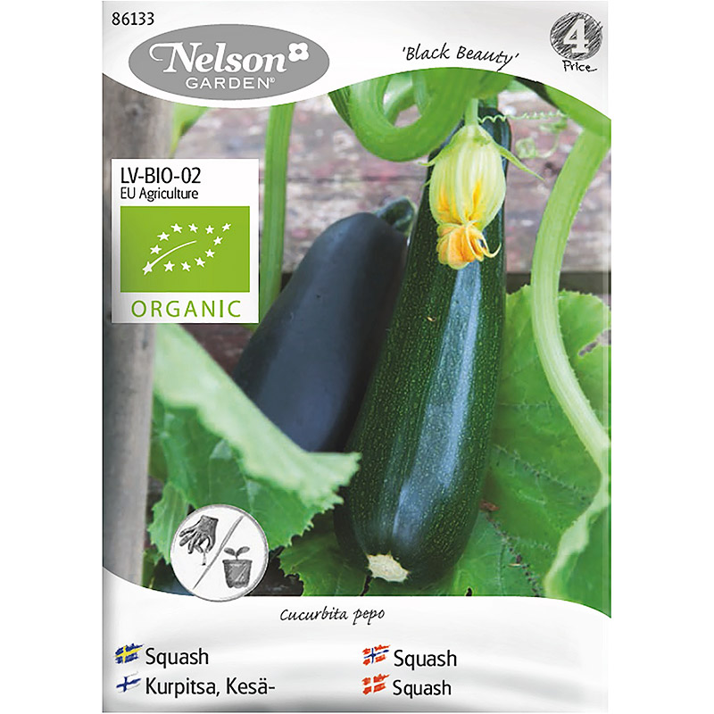 Squash Black Beauty, Organic, Ekologiskt frö till squash, Black Beauty