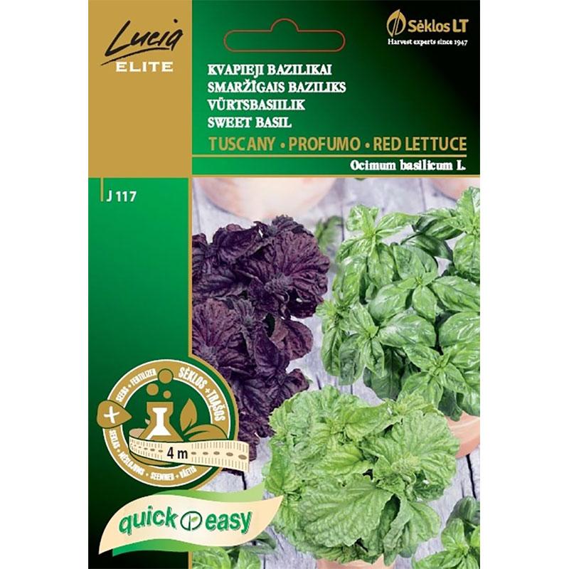 Basilika Mix - Tuscany/Profumo/Red Lettuce-Frö till basilika mix