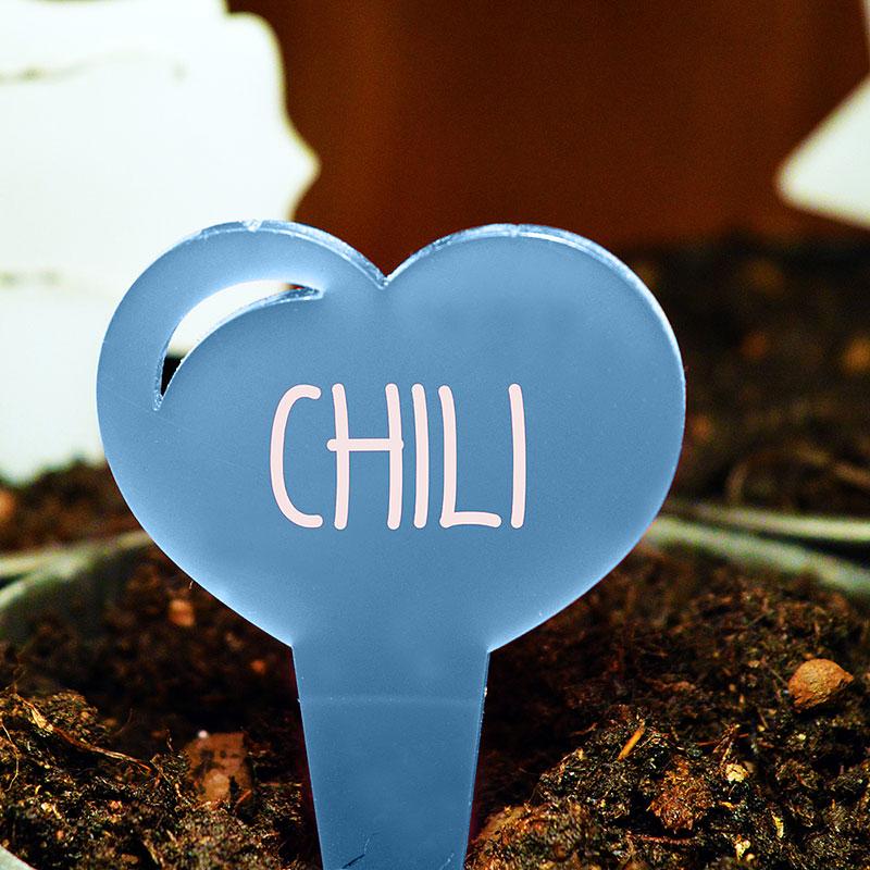 Blomskylt Hjärta, Blå, Växtetikett i forma av ett hjärta