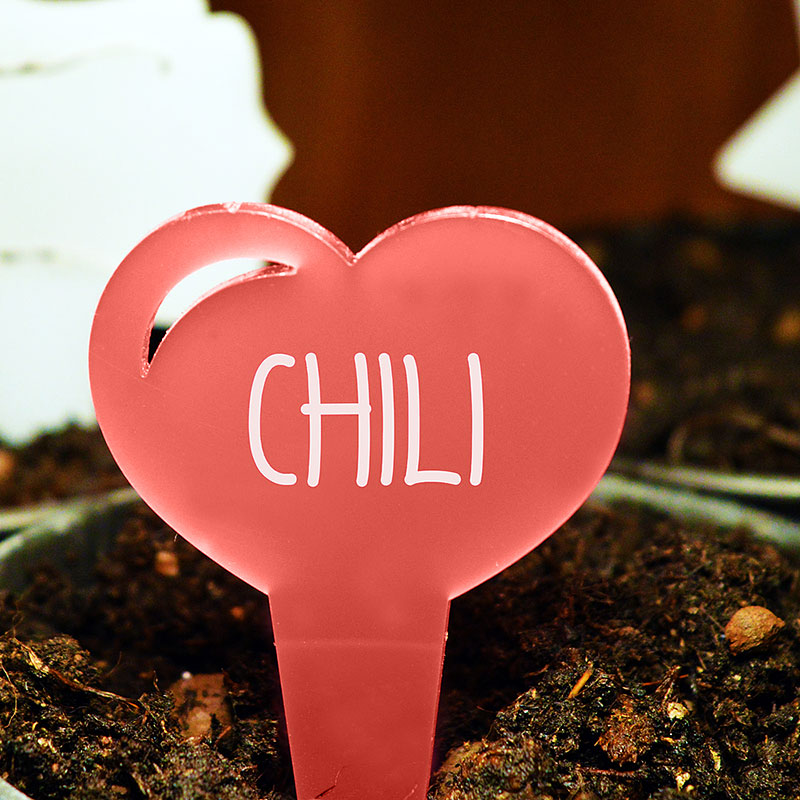 Blomskylt Hjärta, Röd, Växtetikett i forma av ett hjärta
