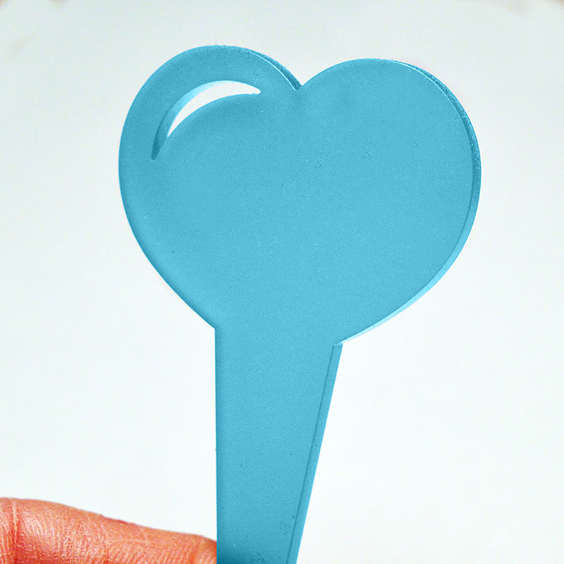 Hjärtformad blometikett, färg aqua