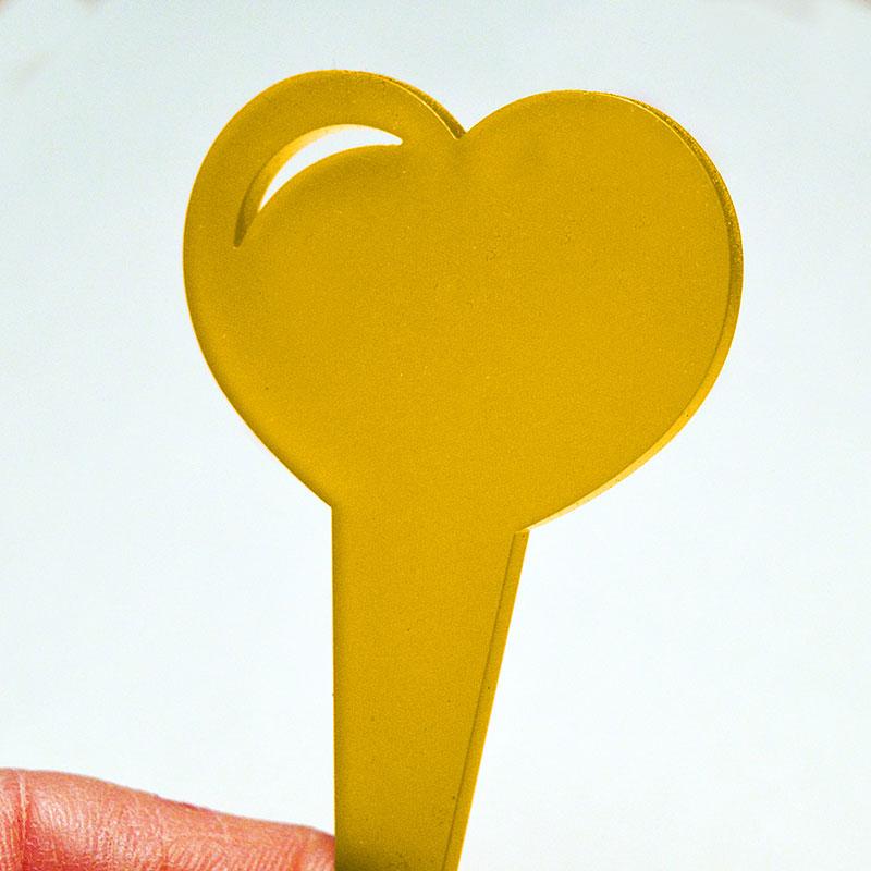 Blomskylt hjärtformad, gul