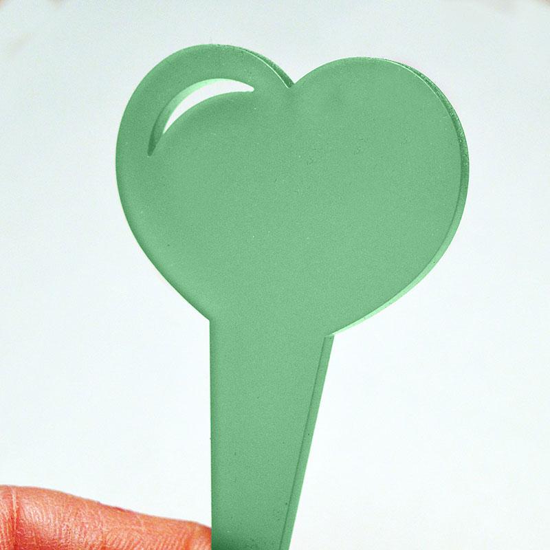 Hjärtformad växtetikett, färg grön
