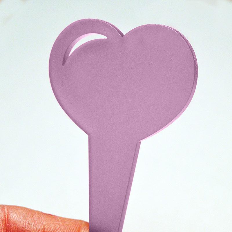 Hjärtformad växtskylt, färg lavendel