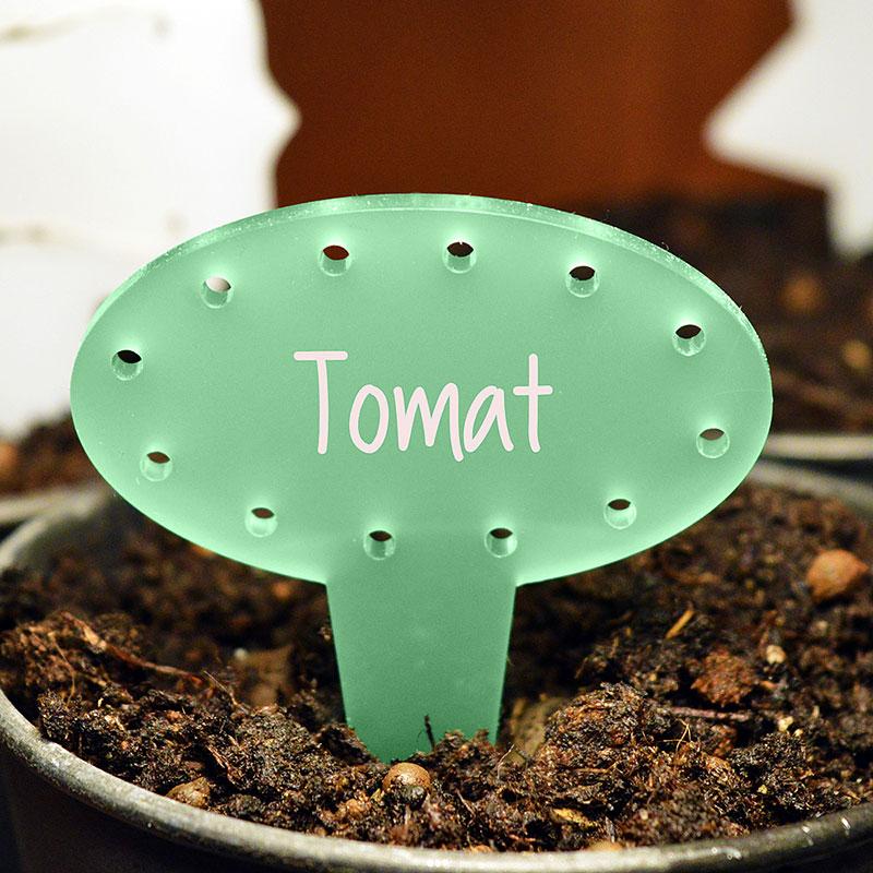 Blomskylt Oval, Grön, Växtetikett oval