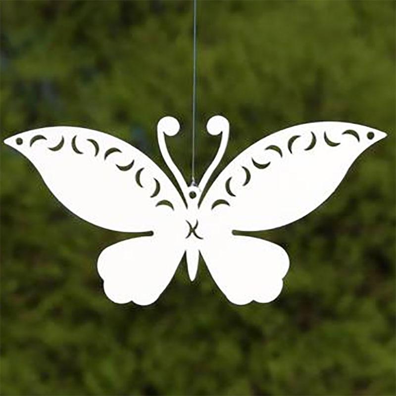 Trädgårdsdekor fjäril vit för upphängning, XS-Trädgårdsdekor för stödkontruktioner i form av en vit fjäril