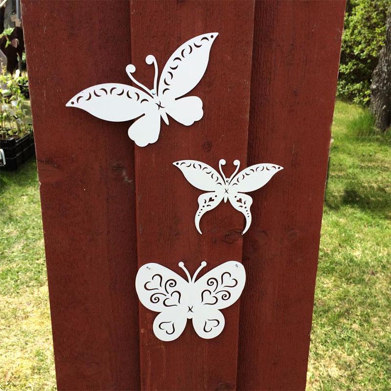 Trädgårdsdekor fjäril vit för upphängning, XS, Trädgårdsdekor fjäril uppsatt på vägg