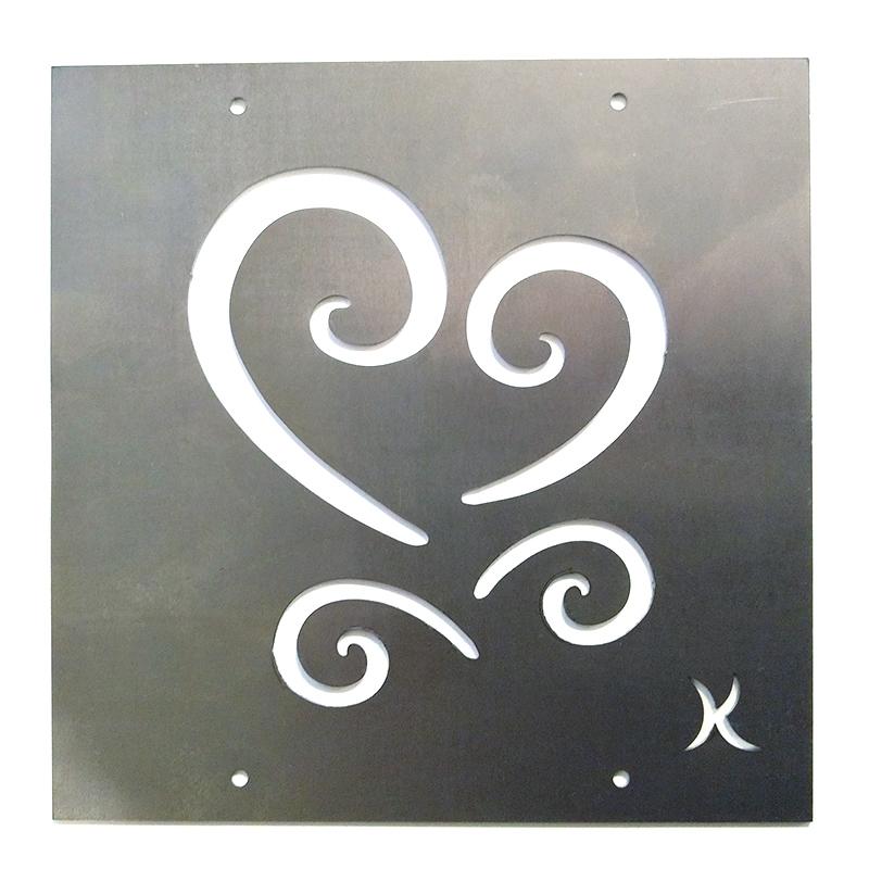 Tankeruta Hjärteruta, rostar-Dekorationsdel i rost med motivet hjärteruta för armeringsnät
