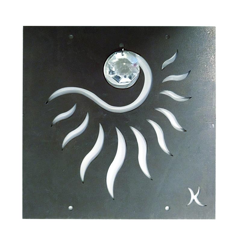 Tankeruta Solöga, rostar-Trädgårdssmycke i rost med motiv av ett solöga för armeringsnät