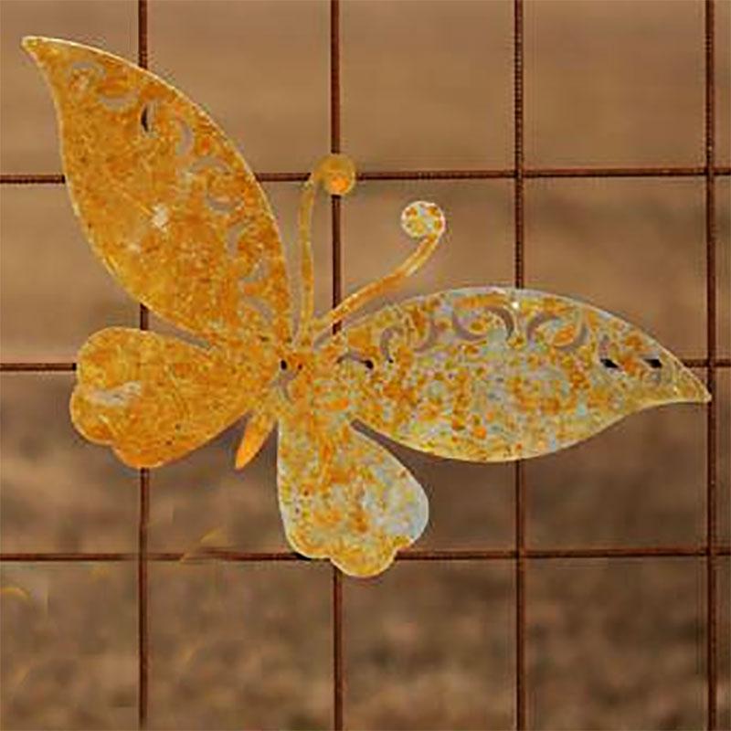Trädgårdsdekoration fjäril i rost för armeringsmatta