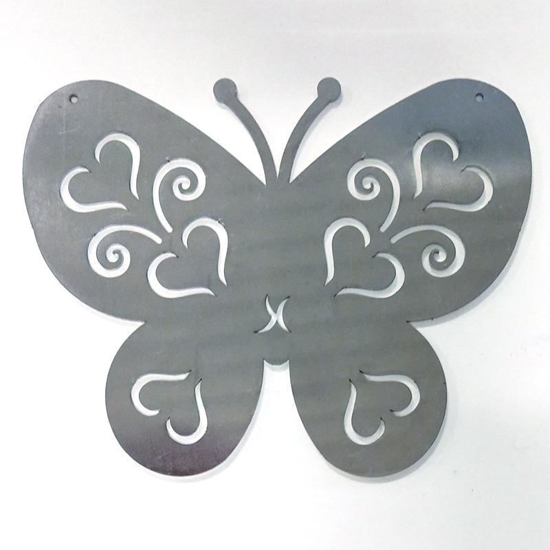 Fjäril i rost för armeringsnät, S-Fjäril i järn som rostar övertid, prydnadsdel till armeringsnät