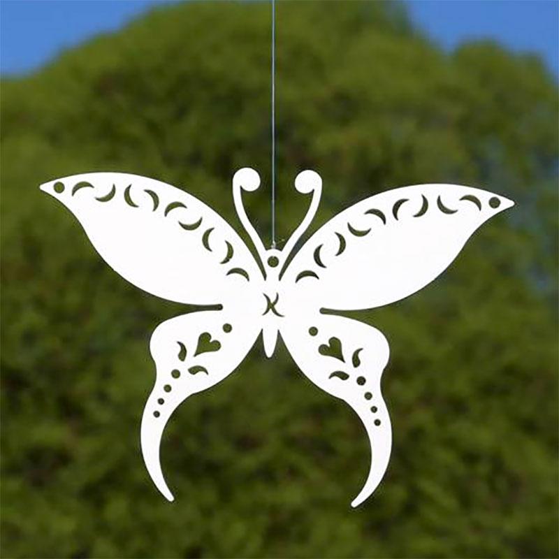 Dekor makaonfjäril vit för upphängning, XS-Dekorationsdel i form av en vit makaonfjäril