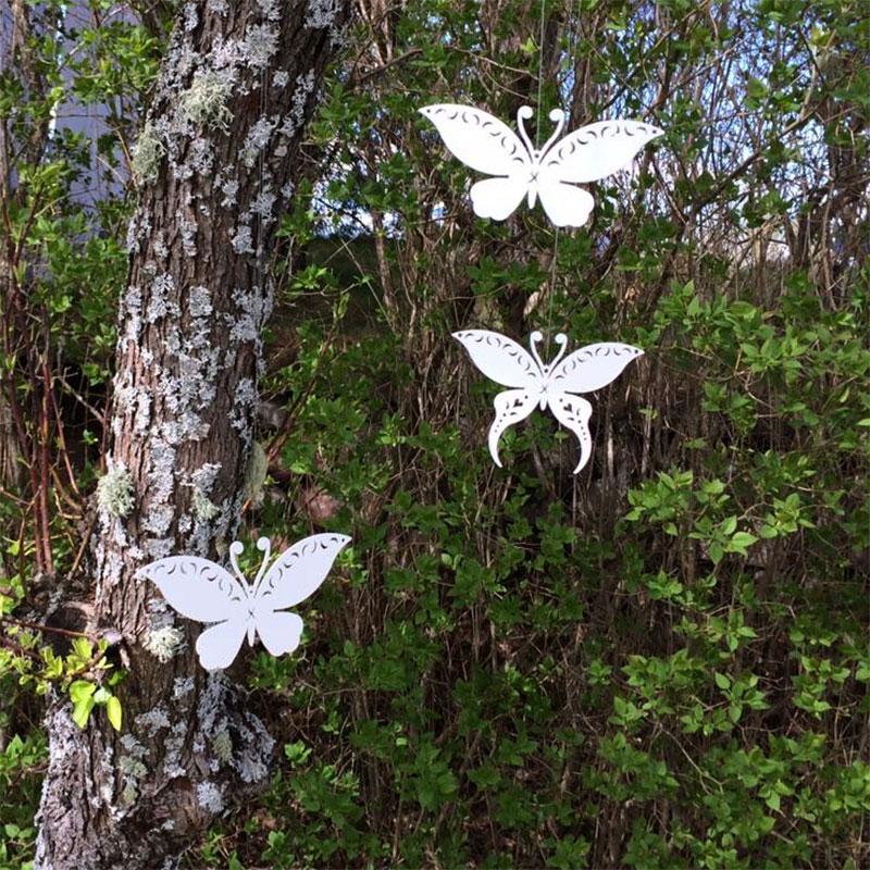 Trädgårdsdekor fjäril vit för upphängning, S, Trädgårdsdekoration fjäril, vit med upphängning