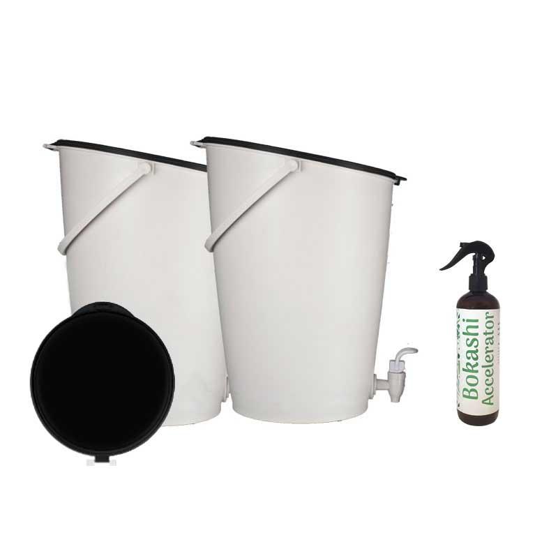 Bokashikompost med lock och EM-spray