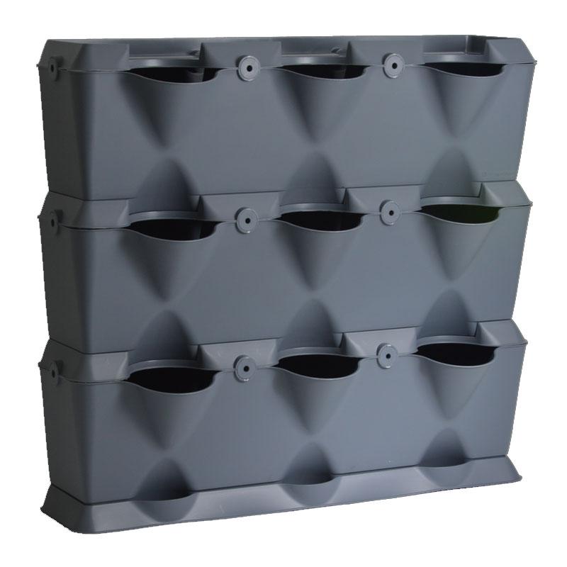 Minigarden Vertical - Växtvägg, grå, Odlingsvägg för inomhusodling och balkongodling