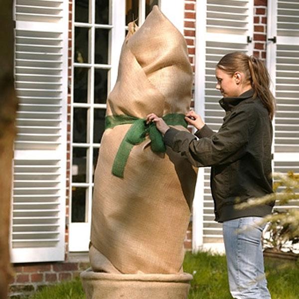 Juteväv växtskydd, natur-Kraftig juteväv för vinterskydd av växter