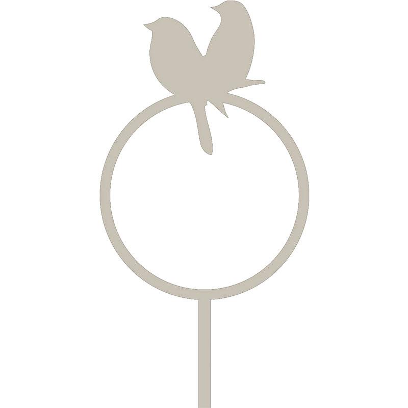 Dekorativ hållare till talgboll, fågelpar grå, Fågelmatare - dekorativ hållare för talgboll fågelpar grå