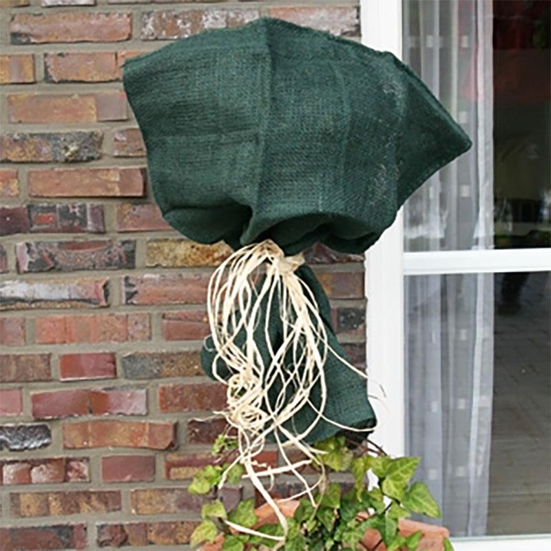 Jutesäck grön-Jutesäck för vinterskydd av växter