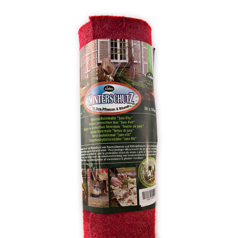Frostskyddsmatta jutefilt, röd, Vinterskydd till trädgårdsväxter