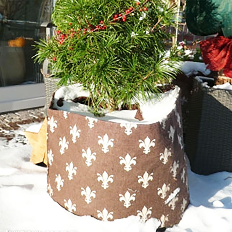 Krukskydd jutesäck lilja brun, stor, Vintertäckning krukskydd jute