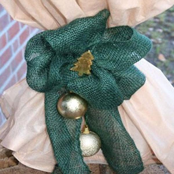 Dekorband jute, green, Dekorband för säkring av vinterskydd