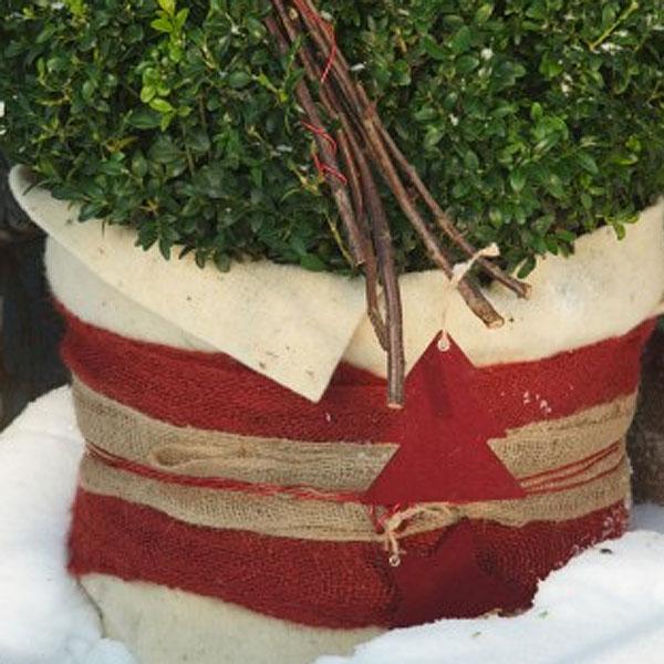 Dekorband jute, red-Dekorband för säkring av vinterskydd