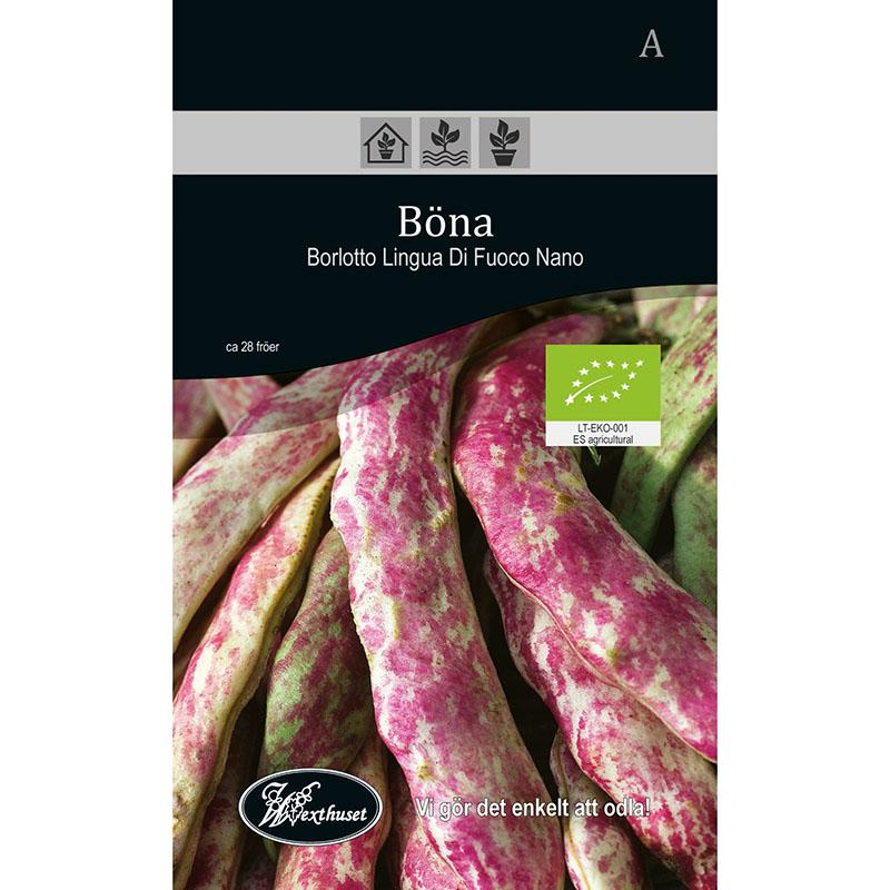 Frö för odling av ekologisk Böna - Borlotto Lingua Di Fuoco Nano