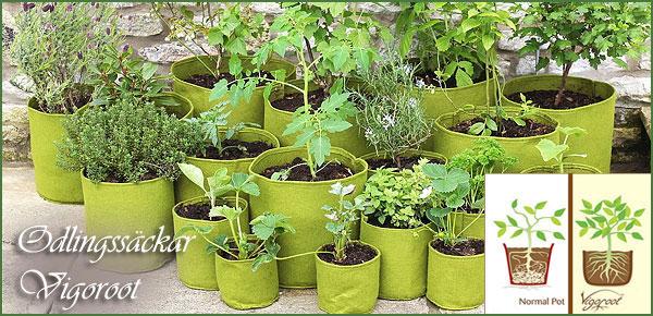 Odlingssäckar för sunda rötter